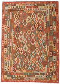 Kelim Afghan Old Style Matto 248X351 Itämainen Käsinkudottu Ruskea/Tummanbeige (Villa, Afganistan)