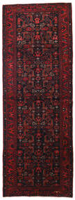 Hamadan Matto 113X307 Itämainen Käsinsolmittu Käytävämatto Musta/Tummanpunainen (Villa, Persia/Iran)