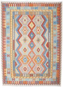 Kelim Afghan Old Style Matto 212X290 Itämainen Käsinkudottu Vaaleanharmaa/Tummanbeige (Villa, Afganistan)