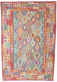 Kelim Afghan Old Style Matto 200X293 Itämainen Käsinkudottu Ruoste/Vaaleanvihreä (Villa, Afganistan)