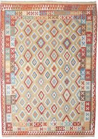 Kelim Afghan Old Style Matto 206X294 Itämainen Käsinkudottu Vaaleanharmaa/Tummanpunainen (Villa, Afganistan)