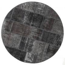 Patchwork - Persien/Iran Matto Ø 150 Moderni Käsinsolmittu Pyöreä Musta/Tummanharmaa (Villa, Persia/Iran)