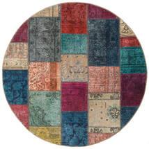 Patchwork - Persien/Iran Matto Ø 150 Moderni Käsinsolmittu Pyöreä Tummanharmaa/Vaaleanruskea (Villa, Persia/Iran)