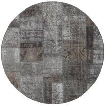 Patchwork - Persien/Iran Matto Ø 150 Moderni Käsinsolmittu Pyöreä Tummanharmaa/Vaaleanharmaa (Villa, Persia/Iran)