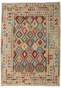 Kelim Afghan Old Style Matto 252X350 Itämainen Käsinkudottu Tummanpunainen/Vaaleanharmaa Isot (Villa, Afganistan)