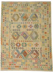 Kelim Afghan Old Style Matto 255X348 Itämainen Käsinkudottu Vaaleanvihreä/Tummanbeige Isot (Villa, Afganistan)