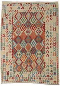 Kelim Afghan Old Style Matto 250X349 Itämainen Käsinkudottu Vaaleanharmaa/Tummanpunainen Isot (Villa, Afganistan)