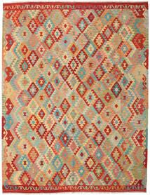 Kelim Afghan Old Style Matto 263X337 Itämainen Käsinkudottu Tummanbeige/Vaaleanvihreä Isot (Villa, Afganistan)