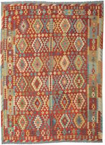 Kelim Afghan Old Style Matto 253X348 Itämainen Käsinkudottu Tummanpunainen/Tummanbeige Isot (Villa, Afganistan)