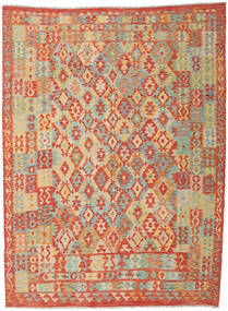 Kelim Afghan Old Style Matto 251X340 Itämainen Käsinkudottu Punainen/Tummanbeige Isot (Villa, Afganistan)