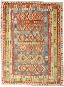 Kelim Afghan Old Style Matto 250X341 Itämainen Käsinkudottu Tummanbeige/Punainen Isot (Villa, Afganistan)