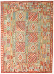 Kelim Afghan Old Style Matto 251X346 Itämainen Käsinkudottu Tummanbeige/Vaaleanvihreä Isot (Villa, Afganistan)