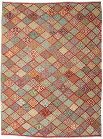 Kelim Afghan Old Style Matto 263X347 Itämainen Käsinkudottu Tummanpunainen/Vaaleanharmaa Isot (Villa, Afganistan)