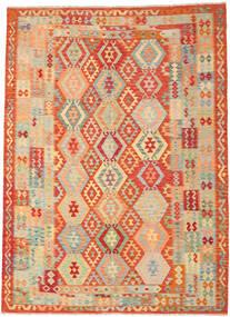Kelim Afghan Old Style Matto 246X335 Itämainen Käsinkudottu Tummanbeige/Punainen (Villa, Afganistan)