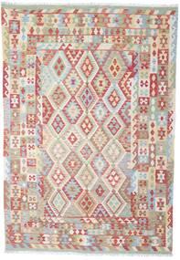 Kelim Afghan Old Style Matto 202X294 Itämainen Käsinkudottu Vaaleanharmaa/Ruskea (Villa, Afganistan)