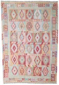 Kelim Afghan Old Style Matto 201X295 Itämainen Käsinkudottu Vaaleanharmaa/Beige (Villa, Afganistan)