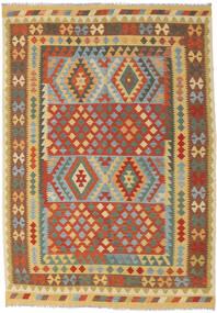Kelim Afghan Old Style Matto 202X287 Itämainen Käsinkudottu Tummanbeige/Punainen (Villa, Afganistan)