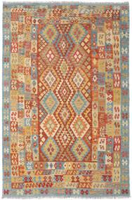 Kelim Afghan Old Style Matto 205X311 Itämainen Käsinkudottu Tummanbeige/Tummanpunainen (Villa, Afganistan)