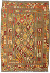 Kelim Afghan Old Style Matto 206X298 Itämainen Käsinkudottu Vaaleanruskea/Ruskea (Villa, Afganistan)