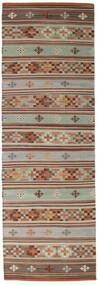 Kelim Anatolian Matto 80X250 Moderni Käsinkudottu Käytävämatto Tummanruskea/Ruskea (Villa, Intia)