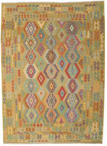 Kelim Afghan Old Style Matto 246X343 Itämainen Käsinkudottu Oliivinvihreä/Ruskea (Villa, Afganistan)