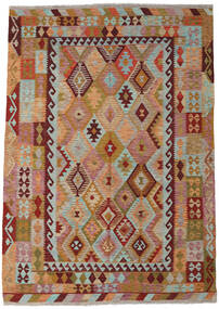 Kelim Afghan Old Style Matto 214X300 Itämainen Käsinkudottu Vaaleanruskea/Tummanpunainen (Villa, Afganistan)