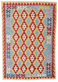 Kelim Afghan Old Style Matto 124X179 Itämainen Käsinkudottu Tummanpunainen/Vaaleanharmaa/Tummanbeige (Villa, Afganistan)