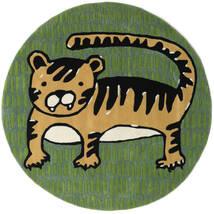 Cool Cat - Keltainen Matto Ø 150 Moderni Pyöreä Tummanvihreä/Oliivinvihreä (Villa, Intia)