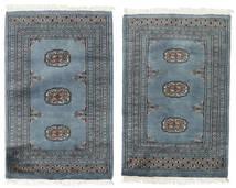 Pakistan Bokhara 3Ply Matto 62X92 Itämainen Käsinsolmittu Sininen/Tummanharmaa (Villa, Pakistan)