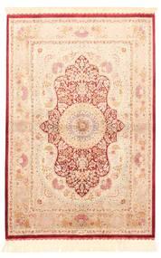 Ghom Silkki Matto 100X147 Itämainen Käsinkudottu Beige/Vaaleanpunainen/Tummanbeige (Silkki, Persia/Iran)