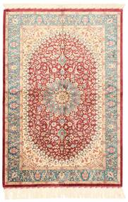 Ghom Silkki Matto 102X150 Itämainen Käsinkudottu Beige/Tummanpunainen (Silkki, Persia/Iran)