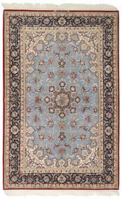 Isfahan Silkkiloimi Matto 159X246 Itämainen Käsinkudottu Vaaleanharmaa/Tummanruskea (Villa/Silkki, Persia/Iran)