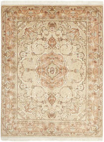 Tabriz 50 Raj Matto 151X197 Itämainen Käsinkudottu Beige/Tummanbeige (Villa/Silkki, Persia/Iran)