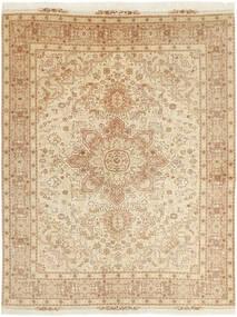 Tabriz 50 Raj Matto 152X202 Itämainen Käsinkudottu Beige/Tummanbeige (Villa/Silkki, Persia/Iran)