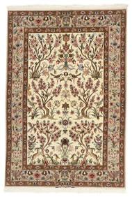 Isfahan Silkkiloimi Matto 109X161 Itämainen Käsinkudottu Beige/Ruskea (Villa/Silkki, Persia/Iran)