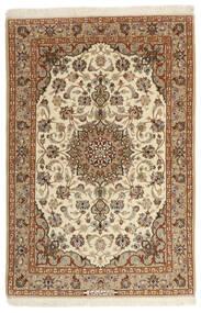 Isfahan Silkkiloimi Matto 105X160 Itämainen Käsinkudottu Ruskea/Tummanbeige (Villa/Silkki, Persia/Iran)