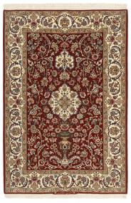 Isfahan Silkkiloimi Matto 111X163 Itämainen Käsinkudottu Tummanruskea/Vaaleanruskea (Villa/Silkki, Persia/Iran)