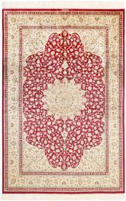 Ghom Silkki Matto 161X236 Itämainen Käsinsolmittu Keltainen/Beige (Silkki, Persia/Iran)