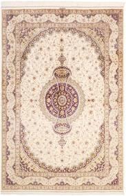 Ghom Silkki Matto 161X237 Itämainen Käsinsolmittu Beige/Vaaleanpunainen (Silkki, Persia/Iran)
