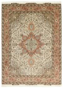 Tabriz 50 Raj Matto 151X213 Itämainen Käsinkudottu Ruskea/Beige (Villa/Silkki, Persia/Iran)