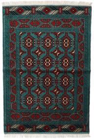 Turkaman Matto 105X150 Itämainen Käsinsolmittu Musta/Tumma Turkoosi (Villa, Persia/Iran)