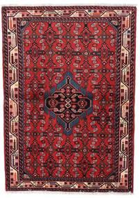 Asadabad Matto 98X140 Itämainen Käsinsolmittu Tummanpunainen/Punainen (Villa, Persia/Iran)