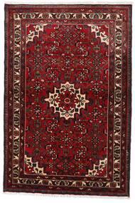 Hosseinabad Matto 97X145 Itämainen Käsinsolmittu Tummanpunainen (Villa, Persia/Iran)