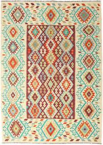 Kelim Afghan Old Style Matto 205X289 Itämainen Käsinkudottu Tummanbeige/Beige (Villa, Afganistan)