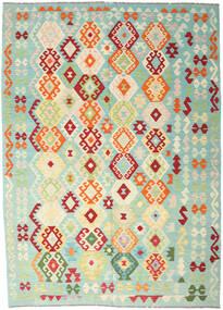 Kelim Afghan Old Style Matto 206X289 Itämainen Käsinkudottu Pastellinvihreä/Beige (Villa, Afganistan)