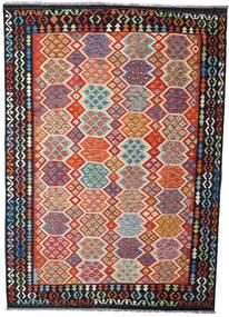 Kelim Afghan Old Style Matto 204X289 Itämainen Käsinkudottu Tummanharmaa/Ruoste (Villa, Afganistan)