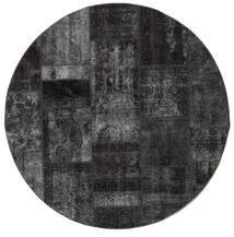 Patchwork - Persien/Iran Matto Ø 200 Moderni Käsinsolmittu Pyöreä Tummanharmaa (Villa, Persia/Iran)