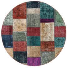 Patchwork - Persien/Iran Matto Ø 200 Moderni Käsinsolmittu Pyöreä Tummanpunainen/Tummansininen (Villa, Persia/Iran)