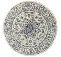 Nain Matto Ø 200 Itämainen Käsinsolmittu Pyöreä Tummanbeige/Tummanharmaa/Vaaleanharmaa (Villa, Persia/Iran)