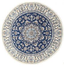 Nain Matto Ø 200 Itämainen Käsinsolmittu Pyöreä Vaaleanharmaa/Beige/Tummansininen (Villa, Persia/Iran)